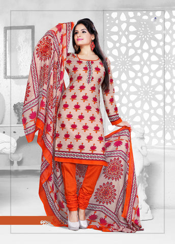 Beige Colored Cotton Printed Un-Stitched Dress Material