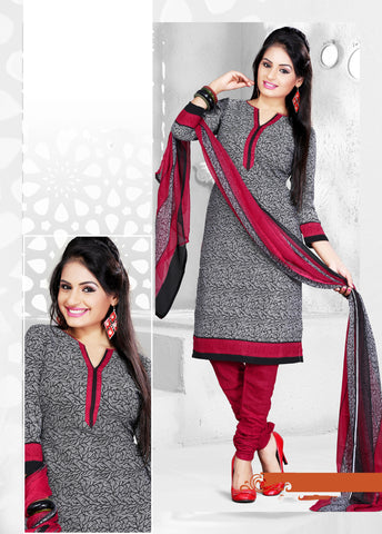 Grey Colored Cotton Printed Un-Stitched Dress Material