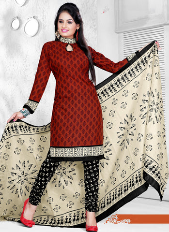 Brown Colored Cotton Printed Un-Stitched Dress Material