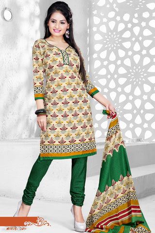 Cream Colored Cotton Printed Un-Stitched Dress Material