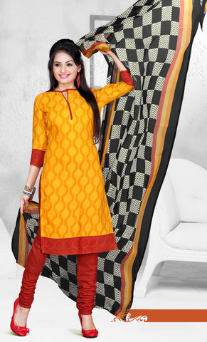 Yellow Colored Cotton Printed Un-Stitched Dress Material