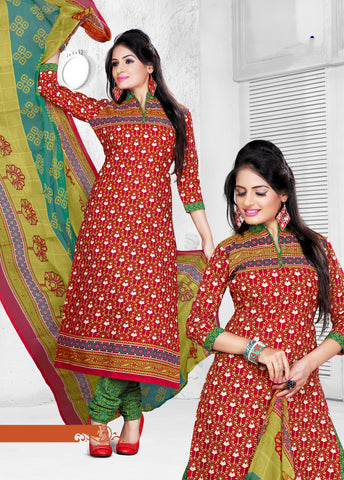 Red Colored Cotton Printed Un-Stitched Dress Material