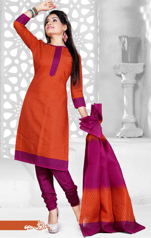 Orange Colored Cotton Printed Un-Stitched Dress Material