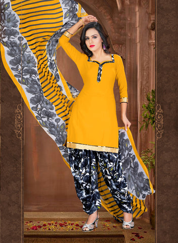 Mustard Colored Crepe Printed Un-Stitched Dress Material