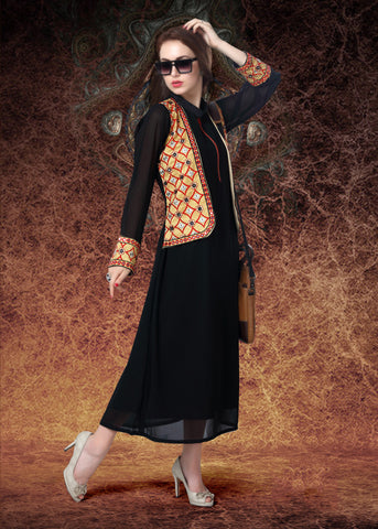 Black & Cream Colored Georgette & Banglori Silk Embroidered Stitched Kurti