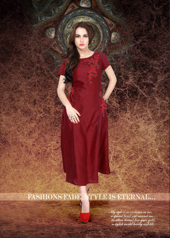 Maroon Colored Banglori Silk Embroidered Stitched Kurti