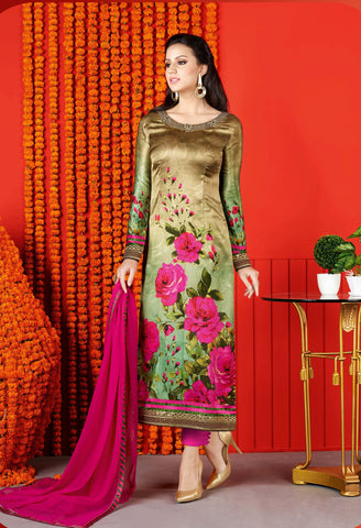 Gold Colored Satin Digital Print Digital Print Semi Stitched Salwar Suit