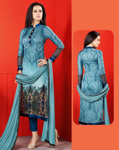 Sky Blue Colored Satin Digital Print Digital Print Semi Stitched Salwar Suit