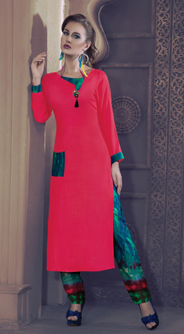 Pink Colored Rayon & Glace Cotton Plain Stitched Combo of Kurti With Pant