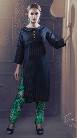 Navy Blue And Green Colored Rayon & Glace Cotton Printed Stitched Combo of Kurti With Pant