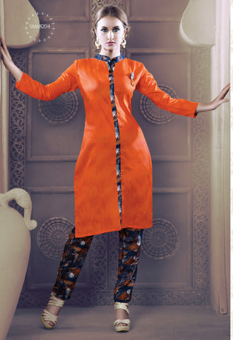 Orange Colored Rayon & Glace Cotton Printed Stitched Combo of Kurti With Pant