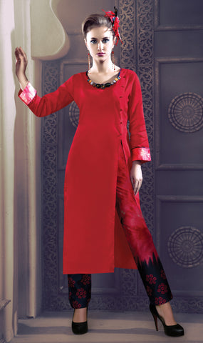 Red And Black Colored Rayon & Glace Cotton Printed Stitched Combo of Kurti With Pant