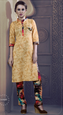 Cream Colored Rayon & Glace Cotton Printed Stitched Combo of Kurti With Pant