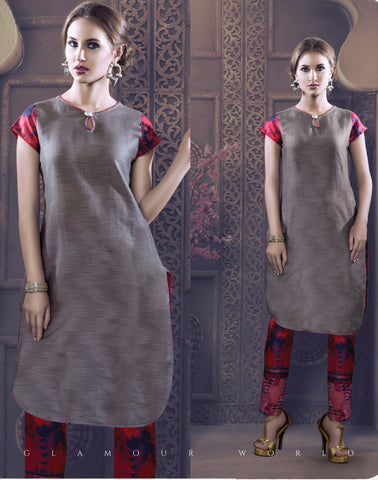 Grey And Pink Colored Rayon & Glace Cotton Printed Stitched Combo of Kurti With Pant