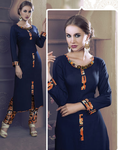 Navy Blue Colored Rayon & Glace Cotton Printed Stitched Combo of Kurti With Pant