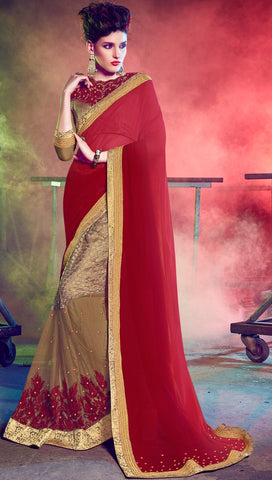 Multi Colored Georgette & Fancy Embroidered Saree With Blouse
