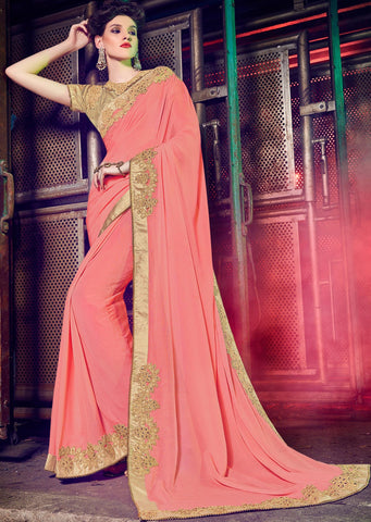 Peach Colored Georgette Embroidered Saree With Blouse