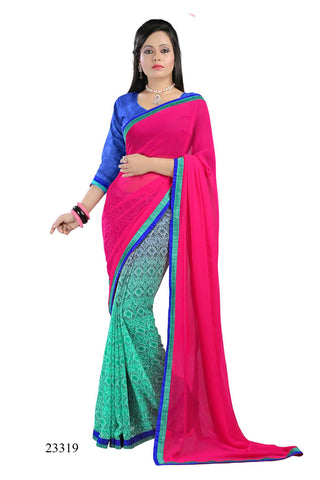 Pink & Sky Blue Colored Georgette Printed with lace border Designer Saree With Blouse