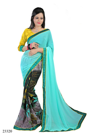 Sky Blue & Grey Colored Georgette Printed with lace border Designer Saree With Blouse