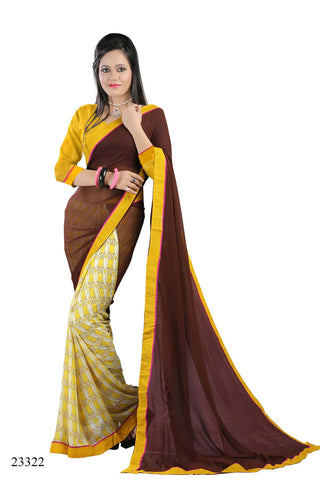 Brown & Cream Colored Georgette Printed with lace border Designer Saree With Blouse