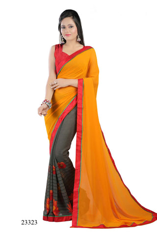 Orange & Grey Colored Georgette Printed with lace border Designer Saree With Blouse