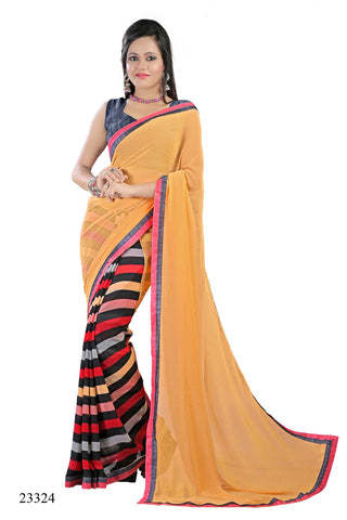 Multi Colored Georgette Printed with lace border Designer Saree With Blouse