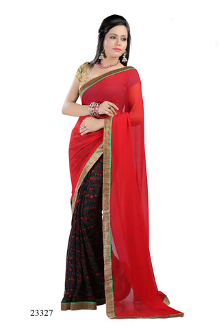 Red & Black Colored Georgette Printed with lace border Designer Saree With Blouse