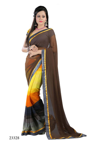 Brown & Yellow Colored Georgette Printed with lace border Designer Saree With Blouse