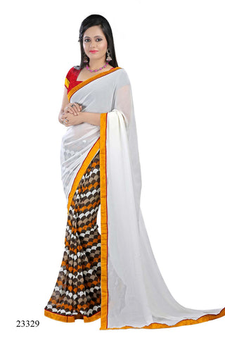 Off White & Brown Colored Georgette Printed with lace border Designer Saree With Blouse