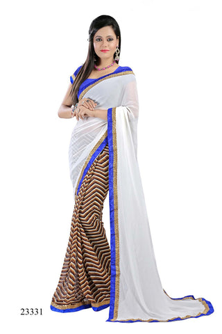 White & Brown Colored Georgette Printed with lace border Designer Saree With Blouse