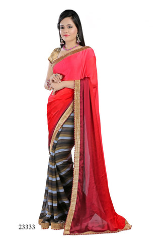 Pink & Red Colored Georgette Printed with lace border Designer Saree With Blouse