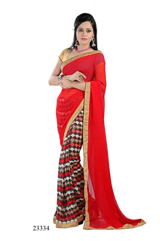 Red Colored Georgette Printed with lace border Designer Saree With Blouse