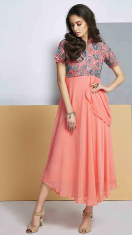 Pink Colored Georgette Embroidered Stitched Kurti