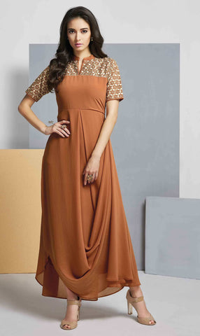 Brown Colored Georgette Embroidered Stitched Kurti