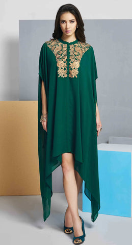 Green Colored Georgette Embroidered Stitched Kurti