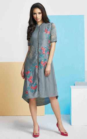 Grey Colored Silk Embroidered Stitched Kurti