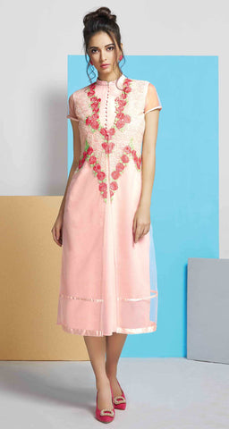 Peach Colored Net & Georgette Embroidered Stitched Kurti