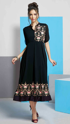 Black Colored Georgette Embroidered Stitched Kurti