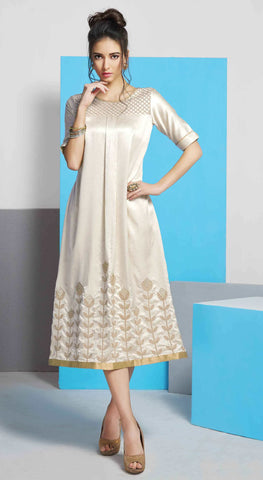 Off-White Colored Silk Embroidered Stitched Kurti