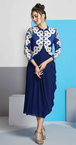 Royal Blue Colored Georgette Embroidered Stitched Kurti