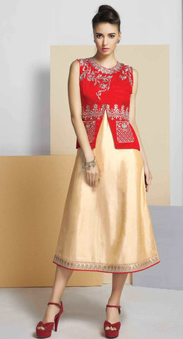 Cream & Red Colored Silk Embroidered Stitched Kurti