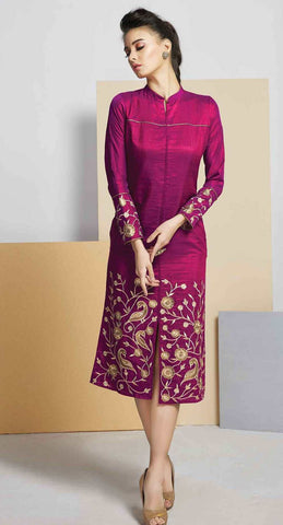 Magenta Colored Silk Embroidered Stitched Kurti