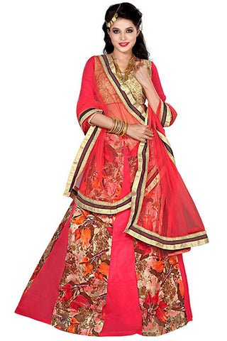 Rukhad Fashion's designer Pink And Gold coloured Floral Print Lehenga , lehenga- Rukhad Fashion