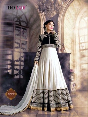 Exclusive Heavy Designer White & Black Wedding Suit , anarkali- Rukhad Fashion