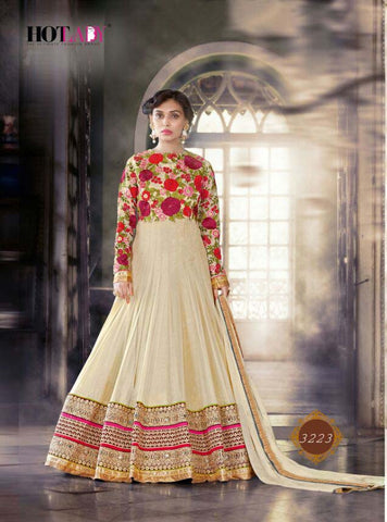 Exclusive Heavy Designer Cream Wedding Suit , anarkali- Rukhad Fashion