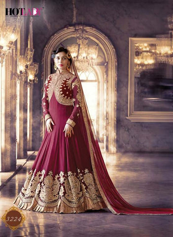 Exclusive Heavy Designer Maroon Wedding Suit , anarkali- Rukhad Fashion