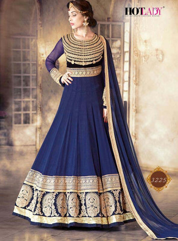 Exclusive Heavy Designer Navy Blue Semi-Stitched Wedding Suit , anarkali- Rukhad Fashion