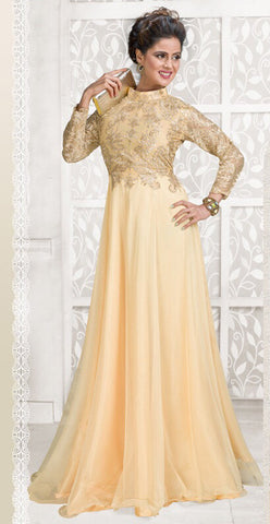 Rukhad Fashion Net Beige Semi-Stitched Gown