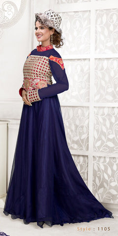 Rukhad Fashion Net Navy-Blue Semi-Stitched Gown