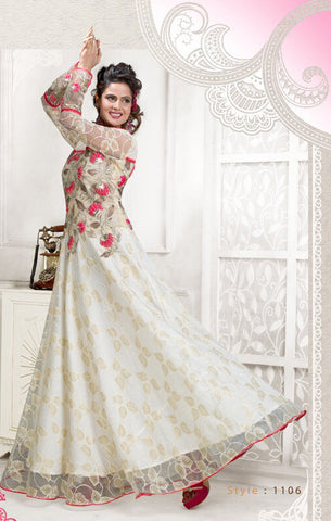 Rukhad Fashion Net White Semi-Stitched Gown